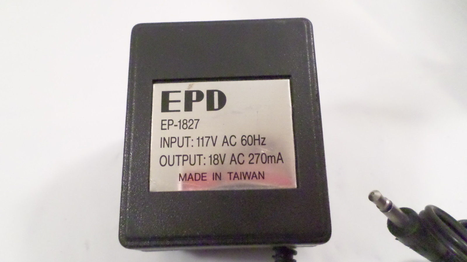 EPD Model EP-1827 18VAC 270mA AC Adapter 117V 60Hz