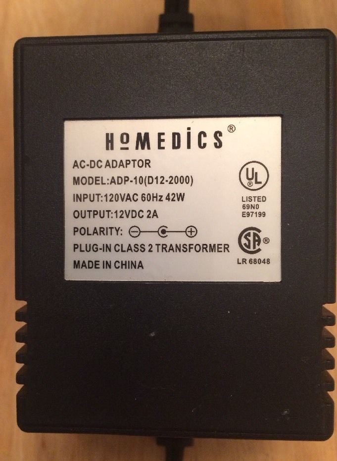 Brand new 12VDC 2A HoMedics (ADP-10) D12-2000 Black AC Adapter Power Supply